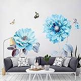 Alicemall Wandaufkleber Hochwertig PVC Wandtattoo Blumen Wandsticker Kinderzimmer Wohnzimmer Sofa Hintergrund - Blau
