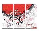 130x90 cm 3 teiliges Leinwandbild Fotoleinwand rot grau weiß schwarz Halbkreis Punkte Abstrakte Kunst