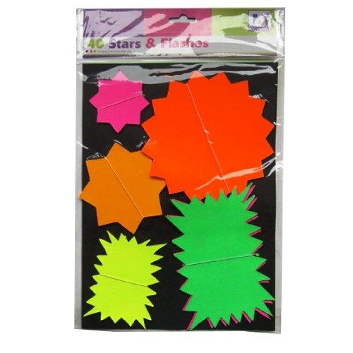 neon-sortierten-sterne-blinkt-preisgestaltung-card-packung-mit-40-stuck-gemischte-farben-grun-gelb-r