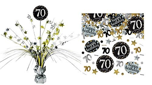 Feste Feiern Tischdekoration 70. Geburtstag I 2 Teile Tischaufsatz Tischaufsteller Kaskade Konfetti Gold Schwarz Silber metallic Party Deko Set Happy Birthday 70 (Geburtstag 70. Tischdekoration)