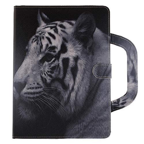 A-BEAUTY iPad Air 2 Hülle, Apple iPad 6 Cover, Handtasche Stil Abdeckung Painted Premium Leder Weich TPU Innere [Doppel-Magnet] Ständer Schutzhülle Brieftasche Design, Weißer Tiger -
