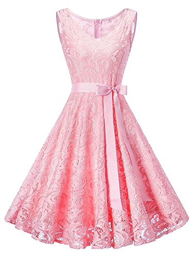 HENCY Damen Spitzen Rockabilly Kleid Festlich Partykleid Cocktailkleid Brautjungfern Kleid Rundhals Ärmellos (Small, V Neck-Rosa)