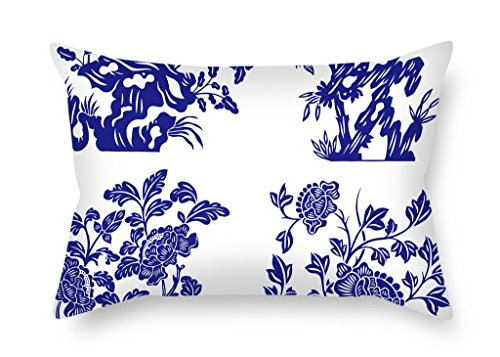 beautifulseason Chinese Style Blue and White Porcelain Throw Cushion Covers 20 X 26 Inches/50 by 65 cm Gift or Decor for Husband Chair Home Theater Family Adults Kids - Both Sides (Boston Home-theater)