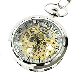 Itemstoday Antique Skeleton Stainless Steel Case Mechanical Hand Winding Men's Pocket Watch