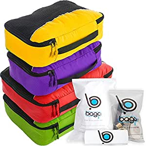 4Pz Bago Cubi Di Imballaggio - Set per Viaggi (PCN(L) GreenRed(M) PurpleYellow)+ 6Pz Sacchetti Organizzatori per i bagagli
