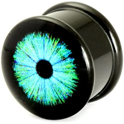 Logotipo de acrílico Imagen Plug | oído estiramiento plug | Cyber Ojo Azul | 6mm Calibre
