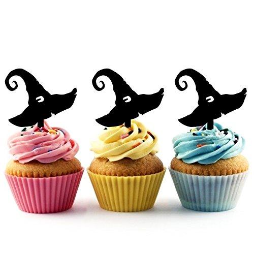 Innovedesire Witch Hat Halloween Kuchenaufsätze Hochzeit Geburtsta Acryl Dekor Cupcake Kuchen Topper Stand für Kuchen Party Dekoration 10 Stück