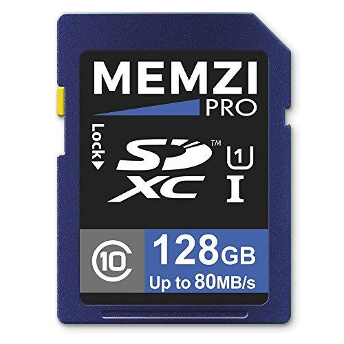 Memzi Pro 128GB Class 1080MB/s SDXC Speicherkarte für Nikon D3300, D3200, D3100, D810, d810a, D800E, D800, D610, D600SLR Digital Kameras