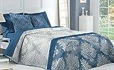Textilhome - Colcha Bouti ELENA - cama 180 - 270x270cm. Color Azul + 2 Funda Cojín 60X60cm.