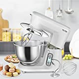 MLITER 1500W Electric Food Stand Mixer 5 Speed With Digital Touch Panel Includes 6. 0L Bowl, Dough Hook, Whisk, Beater & Splash Guard Baking For Thanksgiving Wedding Party Xmas Ivory White