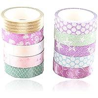 JUNGEN 10 Rolls Washi Tape Arco iris lindo cinta Adhesivas Sticky Washi Cinta Etiquetas engomadas decorativas para los libros de recuerdos Embalaje del arte o del regalo