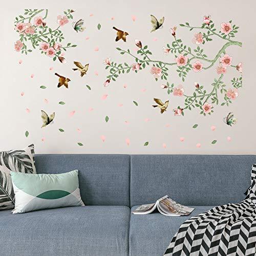 Große Rosa Blüte Frühling Blume Vögel Wandaufkleber Ast Vines Butterfly Vögel Fliegen Aufkleber Pvc Floral Room Decor Poster -