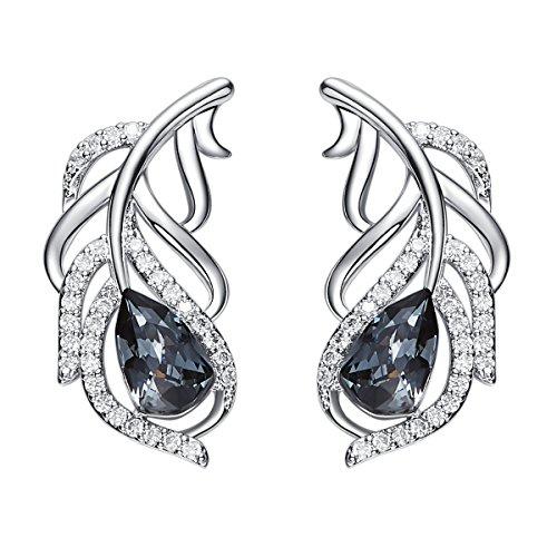 YOURDORA Damen Echt 925 Silber Swarovski Schwarz Kristallen Ohrstecker Feder Ohrringe ModeSchmuck Set