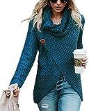 Minetom Femme Chandail Élégant Col Haut Manche Longue Sweater Blouse Pull Chic Oversized Bouton Jumper Tricots Tops Pullover pour Printemps Automne Hiver Bleu FR 36