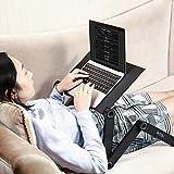 Support réglable pour ordinateur portable Bureau avec 2CPU ventilateurs de refroidissement amovible et tapis de souris Conception ergonomique Plateau de lit support de lecture en aluminium Noir Portable Table pour ordinateur portable