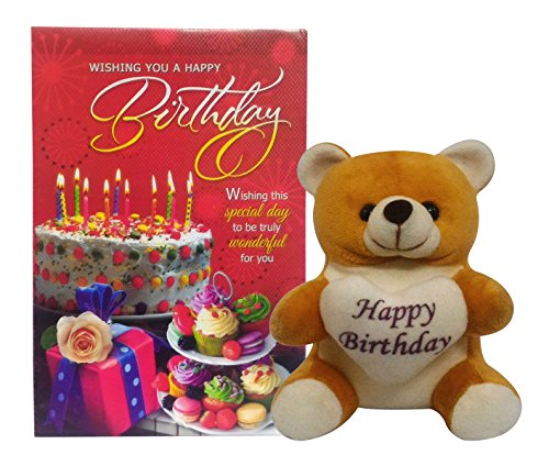Saugat Traders Happy Birthday Soft Teddy With Birthday Greeting Card