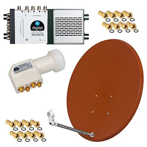 HD Digital SAT Anlage 8 Teilnehmer 80cm Spiegel Ziegelrot + Quattro LNB + Multischalter für Full HD 3D Ultra HD (UHD) Signale + Stecker Gratis dazu im SET