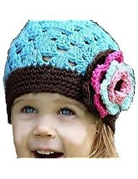 LadyMYP©Handgemachte Strickmütze, Babymütze, Kindermütze, Hüte, 100% Wolle, Blaue Mütze mit farbiger Rose