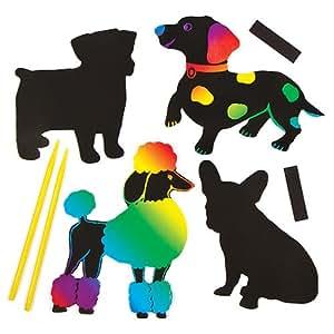 bastelsets f r kratzbild magnete hund f r kinder zum basteln und als deko idee im sommer 12. Black Bedroom Furniture Sets. Home Design Ideas
