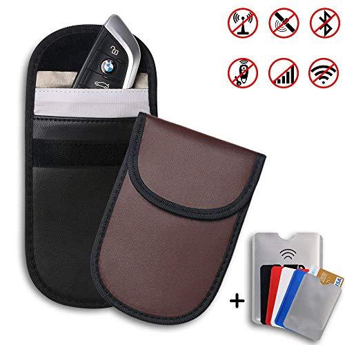 flintronic Coche Bloqueo de Señal, 7Pcs (2* Cuero Keyless Go Bolsa y 5* Bloqueador de Tarjeta de Crédito y 1* Pasaporte) Entrada sin Llave RFID Protector Dispositivo Antirrobo Protección de Privacidad Bloquea WIFI/GSM/LTE/NFC, Negro & Marrón