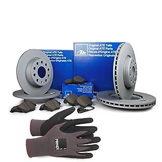 Inspektionspaket ATE Bremsen Set inkl. Bremsscheiben und Bremsbeläge für vorne und hinten enthalten, 100% passend für Ihr Fahrzeug, inkl. Priner Montagehandschuhe, AN129
