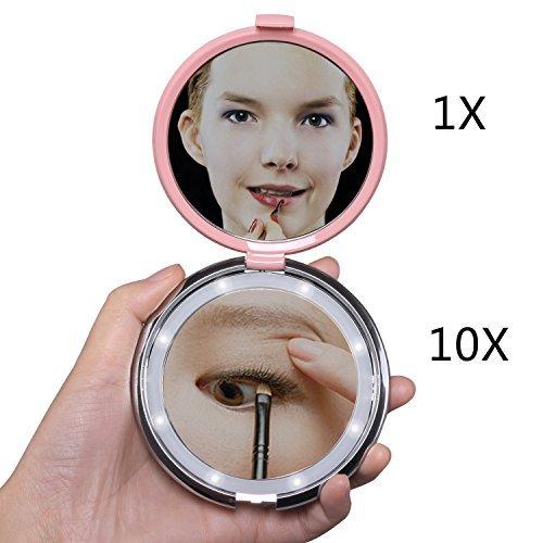Specchio ingranditore 10x led, 1x/10x specchio cosmetico rotondo specchio ingranditore con luce fushop luce specchio trucco borsetta specchio pieghevole faccia compatto specchio con strass