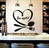 xlei Sticker Mural Phrase Mots Autocollant Mural Autocollant Mural pour Cuisine Mur Décor Spoon Folk Coeur Vinyle Stickers Muraux Salle À Manger Salle De Bain Décoration