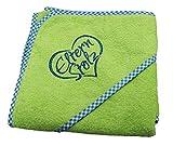 Elternstolz Handtuch Baby Badetuch mit Kapuze 80x80cm Ökotex Hochwertig Bestickt (green)