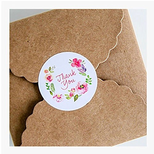 WFZ17,100 adesivi rotondi motivo floreale con scritta in inglese: 'Thank You', per etichettare carta regalo e chiudere pacchi taglia unica Thank You Flower