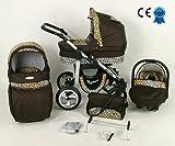 Kombikinderwagen Schokolade Leopard 3in 1mit Kinderwagen + Babyschale + Autositz + Wickeltasche + Gratis Sonnenschirm
