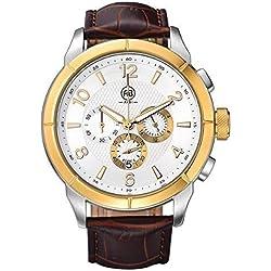 AIBI Herren Armbanduhren Wasserdichte Braun Leder Gold mit Chronographen und Datum