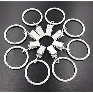 aiskaer 32Stück weiß glänzend Metall Vorhang Clip Ringe 3cm Innen Durchmesser weiß