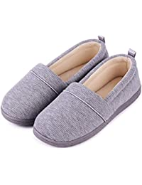 49561991c682 Ladies  Memory Foam Comfort Cotton Knit House Shoes Light Weight Terry  Cloth Loafer Slippers w