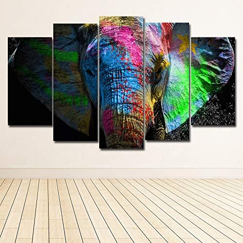 MAOYYM1 5 Paneles Coloridos Elefantes Animales Arte Lienzo Pintura Posters Impresiones En...