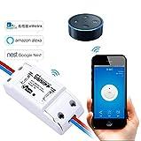 LeeHur Control Remoto Smart Home Wifi Módulo de Conmutador Inalámbrico, DIY interruptor controlado Para Apple & Android, Aplicación Wifi de controlada inalámbrica para Casa Inteligente, Soporte de control remoto con ABS.