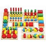 TOWO Houten geometrische vormen Stapelen Ringen en fracties Boards 8 in 1 set Puzzels- Shape Sorter sorteren Toy Stacking Game - Montessori Materials Educatief speelgoed voor 3 4 5 6 jaar