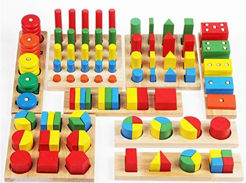 Towo forme geometriche di legno e tavole delle frazioni - gioco di selezione e accatastamento con formine in legno - 8 set in 1 - gioco educativo montessori con accatastamento e selezione