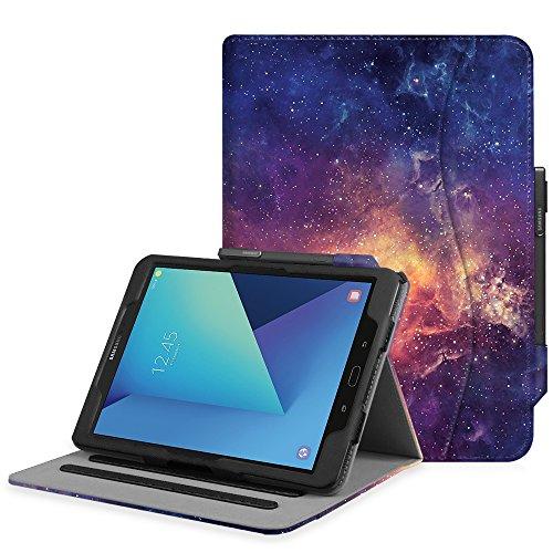 Fintie Hülle für Samsung Galaxy Tab S3 T820 / T825 (9,68 Zoll) Tablet - Multi-Winkel Betrachtung Kunstleder Schutzhülle Case Cover mit Dokumentschlitze und Auto Schlaf/Wach Funktion, Die Galaxie