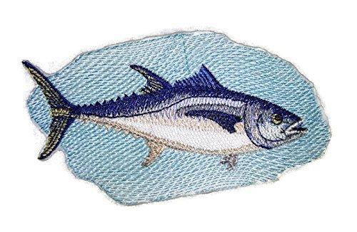BeyondVision Die Prämie der Natur schönen Brauch Fisch Porträts Patches Eisen Nähen gestickt 5 x2,5 weiß, blau, schwarz