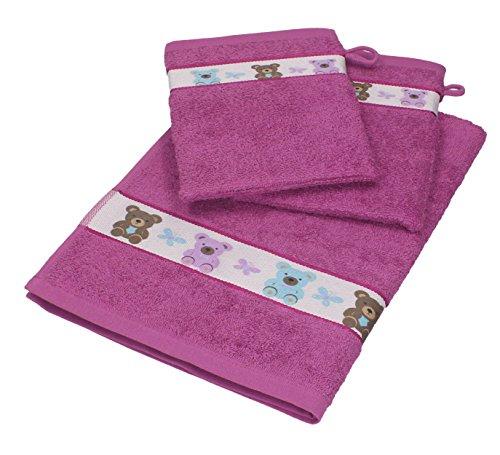 Betz 3 tlg. Baby Handtuch Set 100% Baumwolle 1 St. Kinderhandtücher 2 St. Waschhandschuhe TEDDY Farbe lila pink