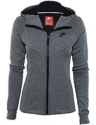 Nike W NSW TCH FLC Hoodie FZ Sudadera, Mujer, Gris (Carbon Heather/