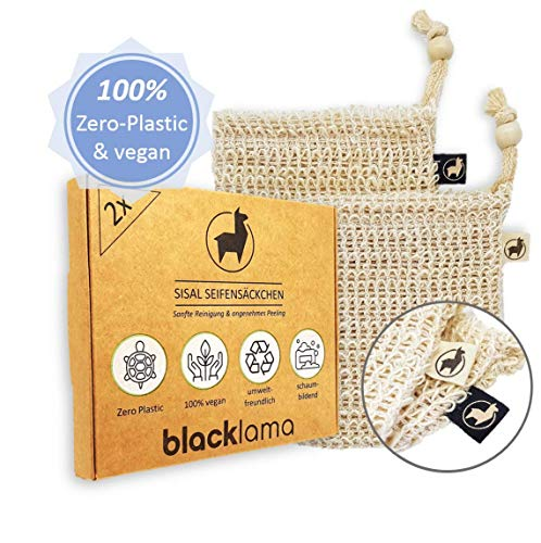 BLACKLAMA [2x] Sisal Seifensäckchen mit Baumwoll-Labels | 100% vegan | Zero-Plastic Verpackung | Bio Peeling | Seifenbeutel & Seifensack für Seifenreste | reines Naturprodukt -
