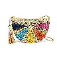 azurely Semicircular Shoulder Bag, Multicolored Crochet Straw Bag Messenger Woven Handbag Beach Bags For Women