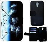 Flip Cover Schutz Hülle Handy Tasche Etui Case für (Samsung Galaxy S4 Mini i9190 i9195, 1610 Pusteblume Abstract Schwarz Weiß)
