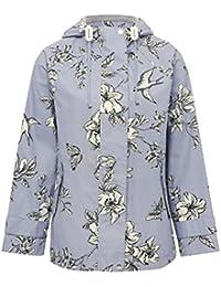 M&Co Ladies Floral Print Shower Proof Zip Fastening Hooded Mac Rain Jacket