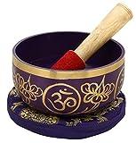 """shalinindia sahasrara viola buddista canto ciotola - sintonizzati al 7 ° chakra della corona chakra - ottima qualità in ottone - 5 """"- ideale per la meditazione, ayurveda e yoga"""