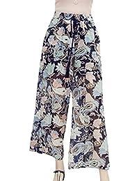 Primavera Verano Elegantes Moda Mujer Pantalones De Estampadas Flor  Abiertas Elastische Taille Basic Ropa Bandage Chiffon Anchos… 80899800de72
