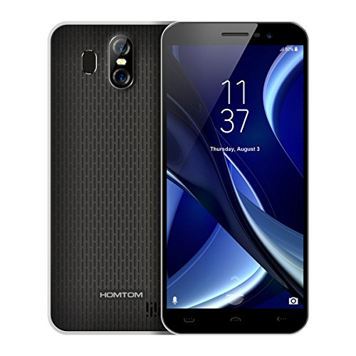 HOMTOM S16 - 5,5 Zoll 3G Smartphone, Infinity Display, Android 7.0 Quad Core 2GB+16GB, Hauptkamera 13MP+2MP, Frontkamera 8.0MP, Dual Karte Dual Standby, SIM-frei Entsperrt Handy, Schwarz (Entsperrt Galaxy Note Handys)