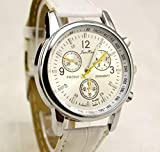 Pasabideak Absolute Billig. Sieht Aber Wirklich Teuer Herren Kleid Watch- Fashion Einfache Analog Armbanduhr Zifferblatt Quarz Krokodil Kunstleder (White)