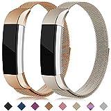 Onedream Compatible para Pulsera Fitbit Alta y Alta HR Correa Mujer Hombre Recambio Acero Strap Metal Deportiva Band Oro Rosa Champán (Sin Reloj),L